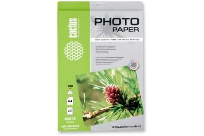 Самоклеящаяся бумага фотобумага Cactus CS-MSA410020 , матовая, А4, 100 г/м2, 20 листов