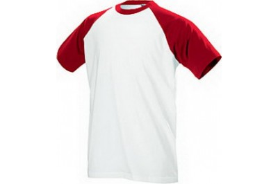 Футболка белая двухслойная, О-ворот, красный рукав, размер XS (42), для сублимационной печати