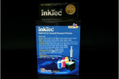 Заправочный набор HPI-6066С Color (цветной) для HP C8766,C9363 (95/343/135/855/97/344/134/857) (в наборе: чернила 25мл х 3 (C,M,Y), заправочный зажим) InkTec