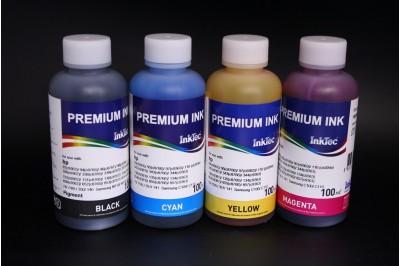 Комплект чернил InkTec H6065-H6066 (пигментные и водорастворимые), 4 x 100 мл, для HP 129-132, 134-136, 140, 141