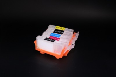 ПЗК (перезаправляемые картриджи) PGI-520Bk, CLI-521BK/ C/M/Y для Canon Pixma iP3600/ 4600/ 4700/ MP540/ 550/ 560/ 620/ 630/ 640/ 980/ 990 с чипом набор 5шт (ВНИМАНИЕ без картриджа CLI-521GY)